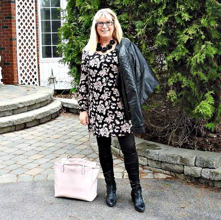Lily morgan floral tunic, svelte shapewear and a rue 21 moto jacket with a Kate spade bag