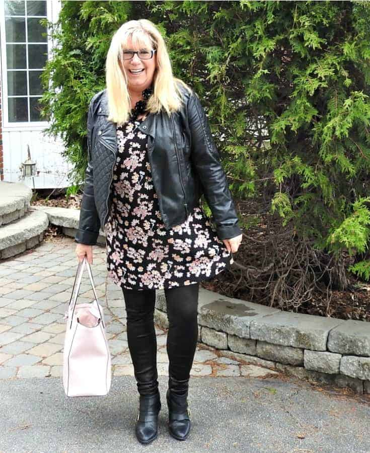 Lily morgan floral tunic, svelte shapewear and a biker chic jacket with a Kate spade pink bag