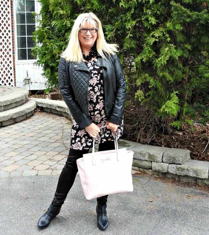 Lily morgan floral tunic, svelte shapewear and a biker chic jacket with a Kate spade tote bag