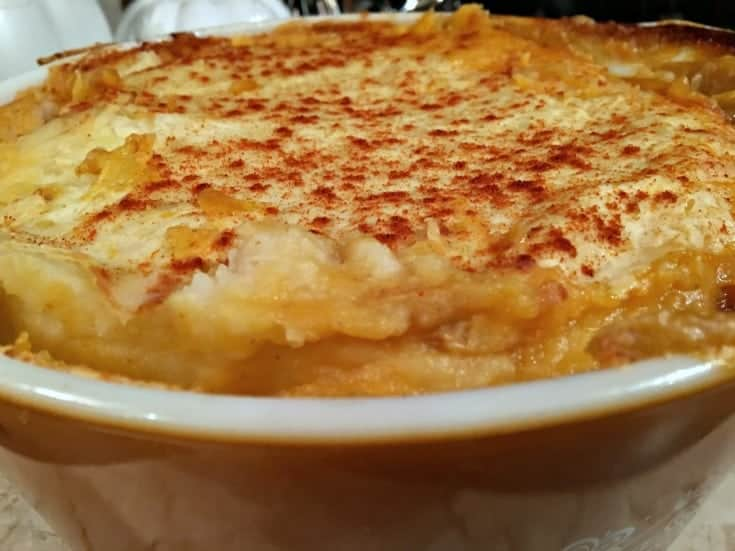 Comfort food of Canadian Shepherd's Pie topped with mashed potatoes