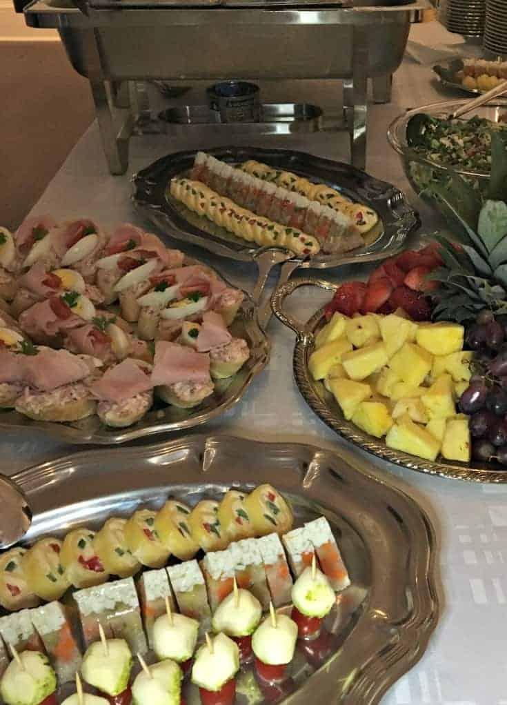 sampling the food buffet at the Czech Embassy