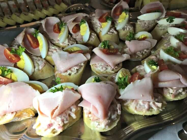 the food buffet at the Czech Embassy
