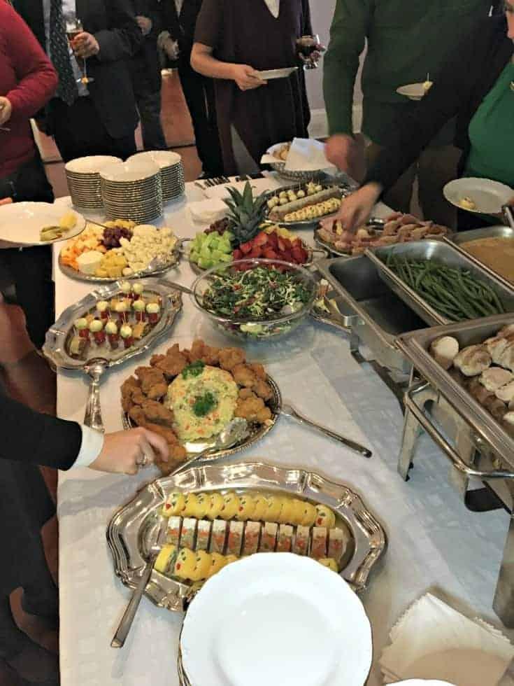 buffet table at the Czech Embassy