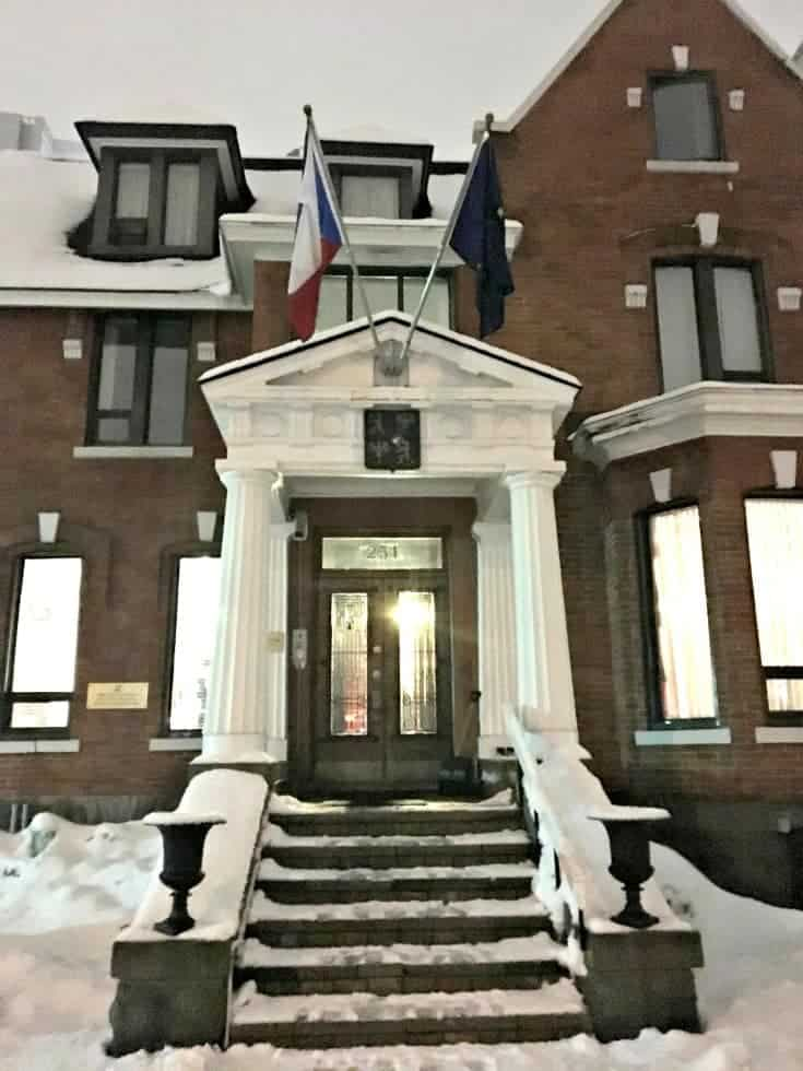 czech embassy in Ottawa in the winter