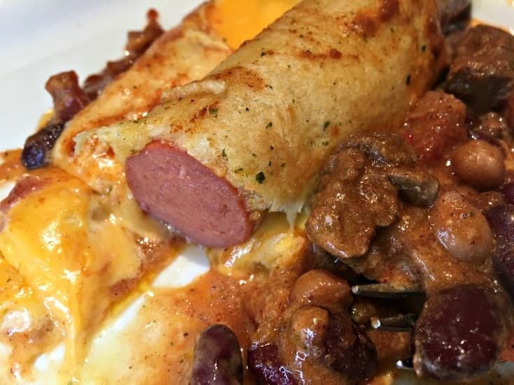 oven baked Chili Cheese Hot Dog Croissant Bake