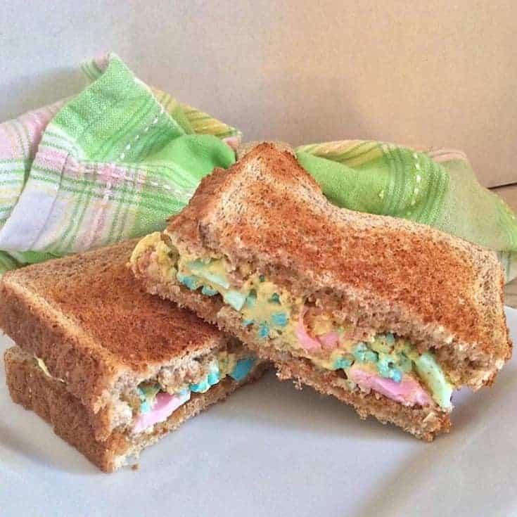 prettiest pastel egg salad sandwich that is fun for the kids school lunch