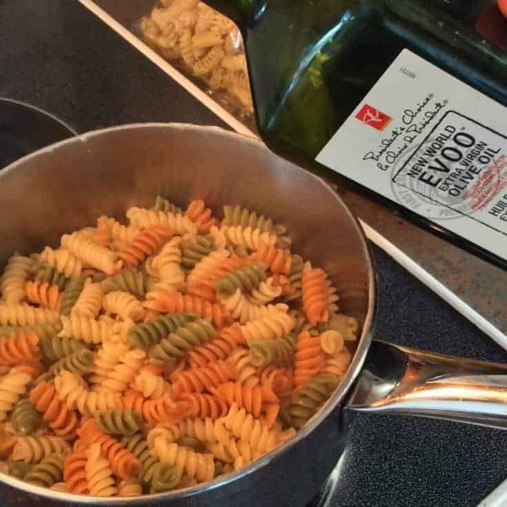 multi colored rotini pasta tossed in Olive Oil