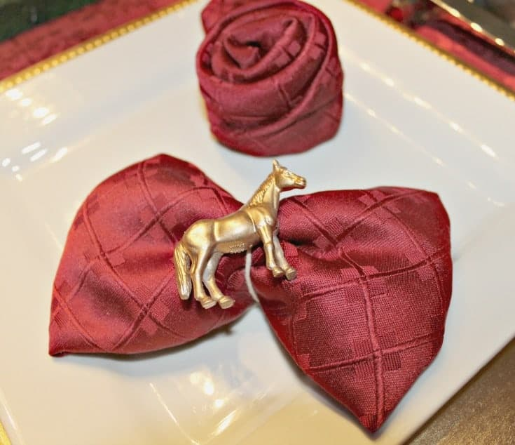 Kentucky Derby Golden Tablescape bowtie napkin