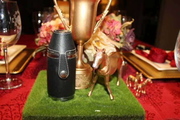 Kentucky Derby Golden Tablescape trophy and horse