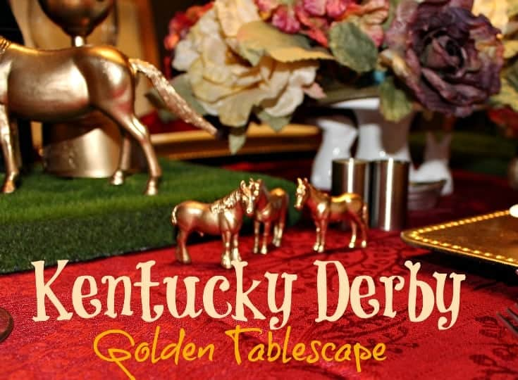 Kentucky Derby Golden Tablescape