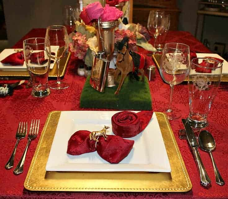 burgundy and gold Kentucky Derby Golden Tablescape