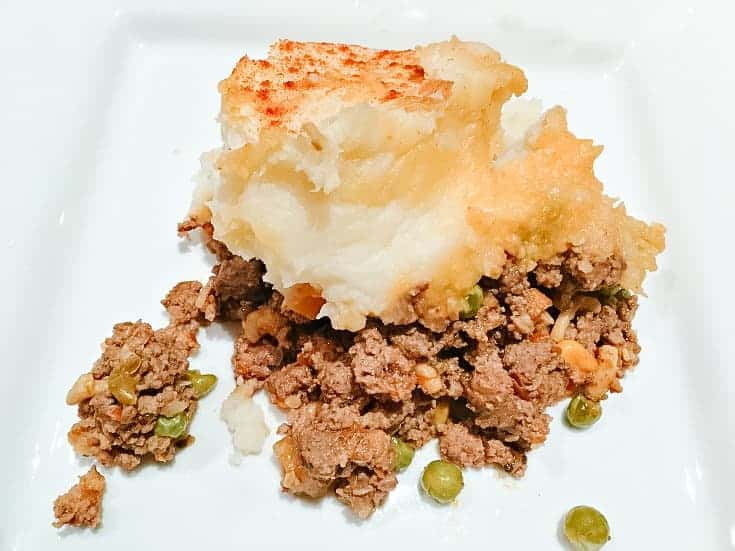 shepherds pie on a white plate 2