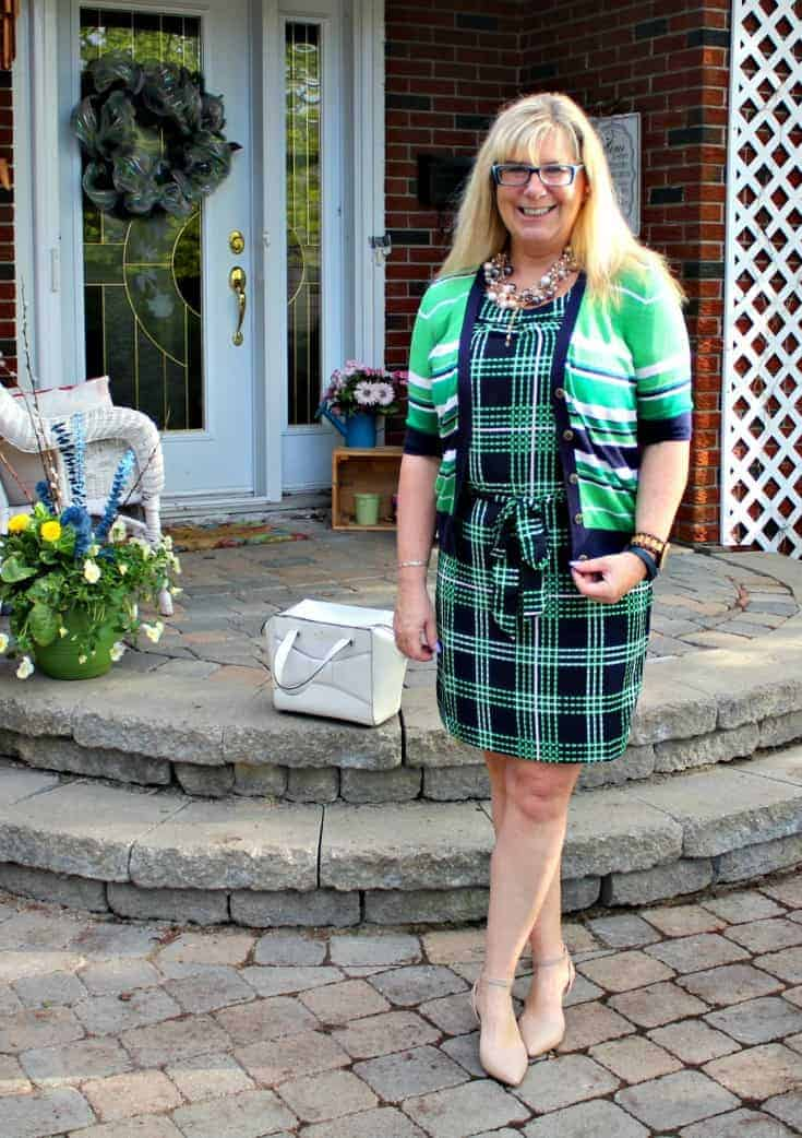 Banana republic stripes and plaids with pearls, shoe dazzle nude heels and a kate spade