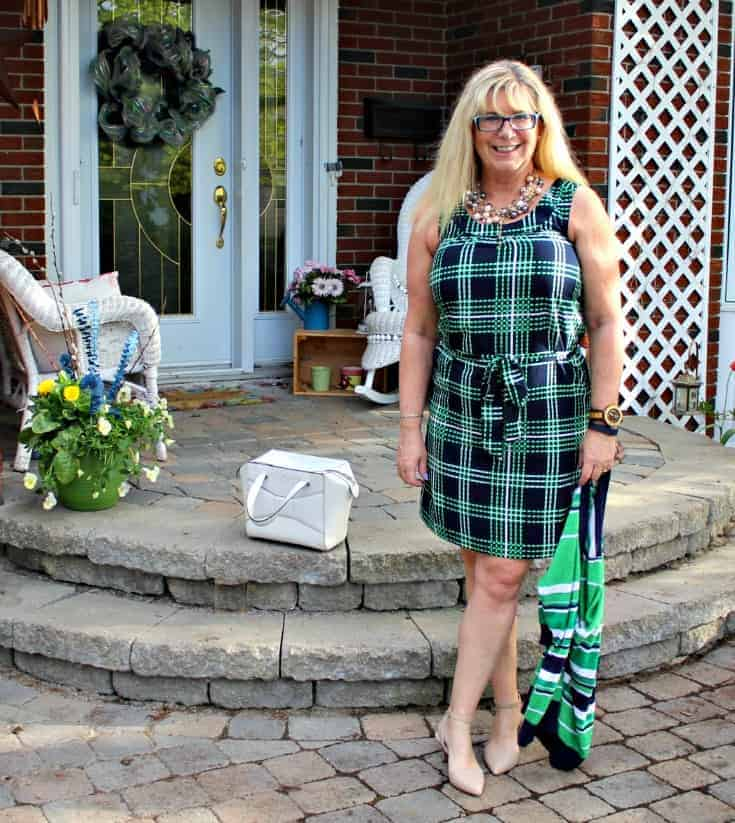 Banana republic stripes and plaids with 7 charming sisters pearls, nude heels and a kate spade