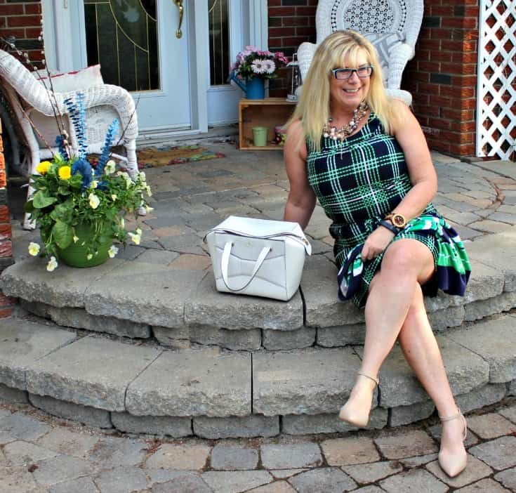 Banana republic stripes and plaids with pearls, nude heels and a kate spade