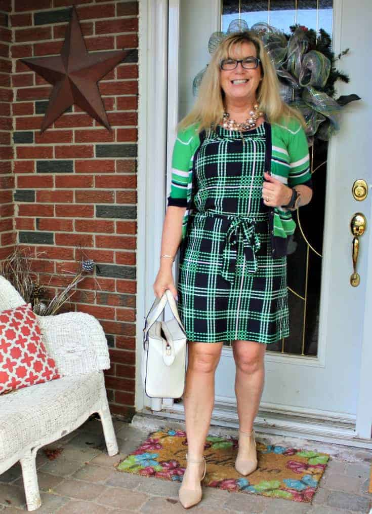Banana republic green stripes and plaids with pearls, nude heels and a kate spade
