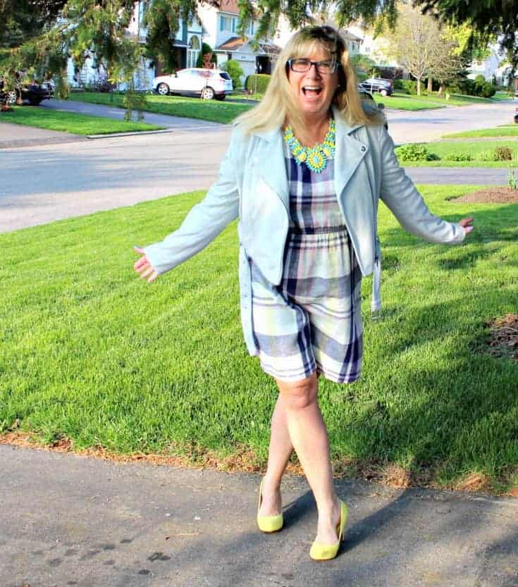 Old Navy Plaid Linen Dress, Forever 21 Moto Jacket and Shoe Dazzle yellow pumps with a 7 Charming Sisters Necklace