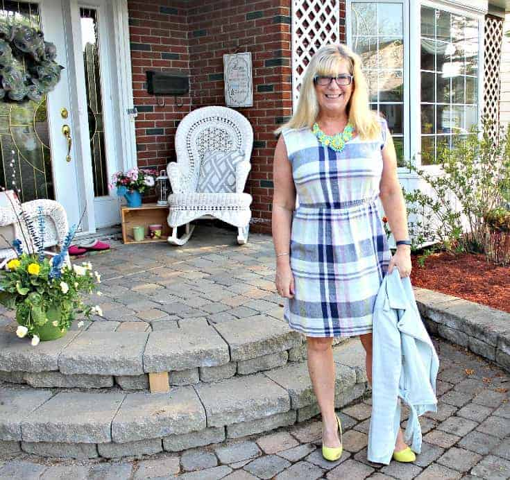 Old Navy Plaid Linen Dress and Shoe Dazzle Signature Soles with a 7 Charming Sisters Necklace