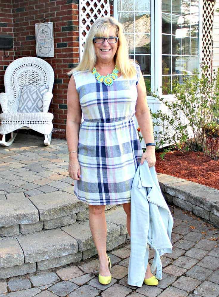 Old Navy Plaid Linen Dress, Forever 21 Moto Jacket and Shoe Dazzle yellow Signature Soles with a 7 Charming Sisters Necklace