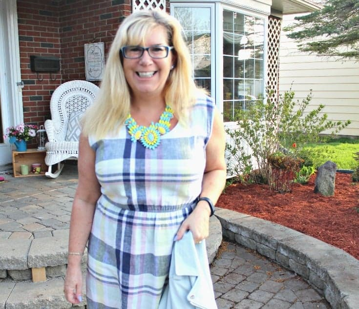 Old Navy Plaid Linen Dress, Forever 21 Moto Jacket  with a 7 Charming Sisters Necklace