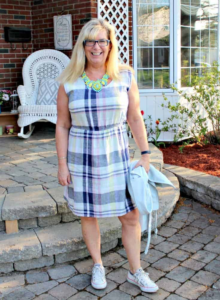 Old Navy Plaid Linen Dress, Blue  Moto Jacket and white converse with a 7 Charming Sisters Necklace