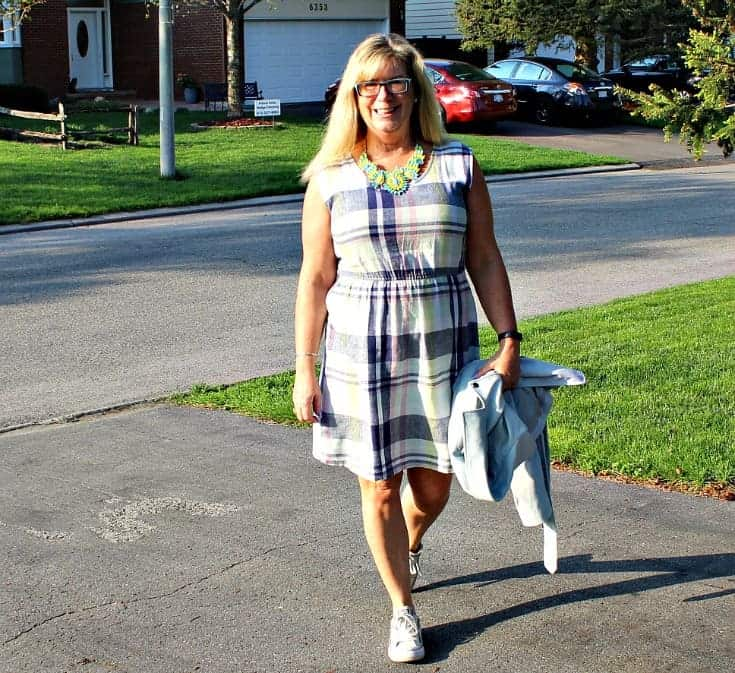 Old Navy Plaid Linen Dress, Moto Jacket and white converse with a 7 Charming Sisters Necklace
