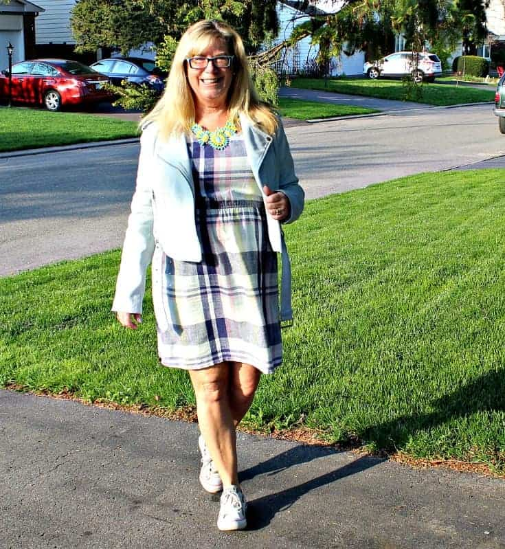 Old Navy Plaid Linen Dress, Forever 21 Moto Jacket and white converse with a 7 Charming Sisters Necklace