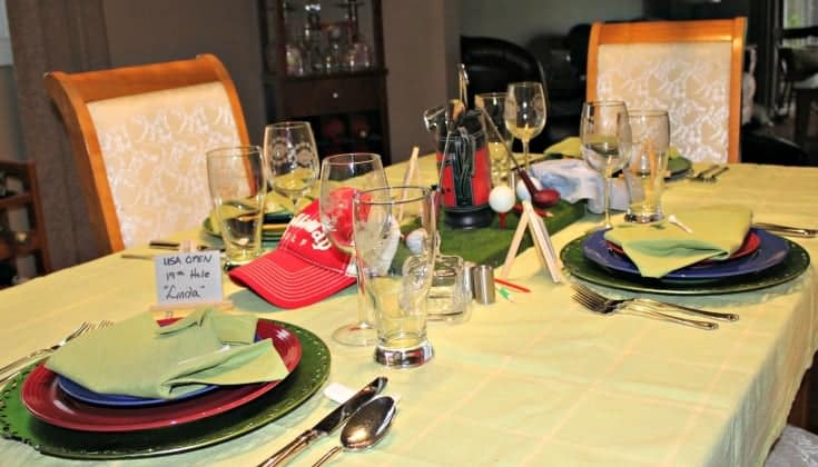 Golf Theme Table with green shirt napkins and fun place cards