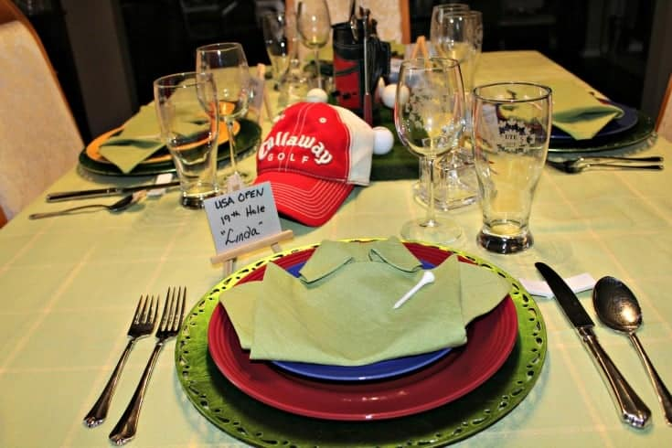 Fathers Day Golf Theme Table with green shirt napkins and golf hats