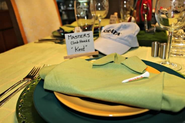 Fathers Day Golf Theme Table with green shirt napkins and fun golf course place cards