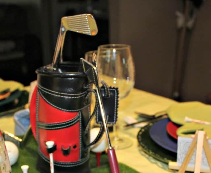 golf bag centrepiece from a bar set