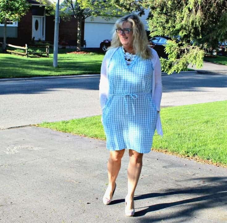 Out for a stroll Joe Fresh Blue Gingham Dress with pockets and  a Floral Signature Sole