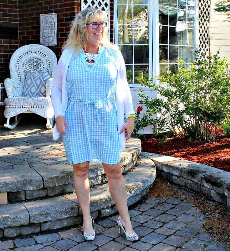 Joe Fresh Blue Gingham Dress with pockets and  a Floral Signature Sole from Shoe Dazzle
