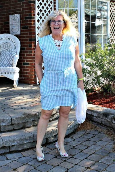 Blue Gingham Dress with a Floral Signature Sole