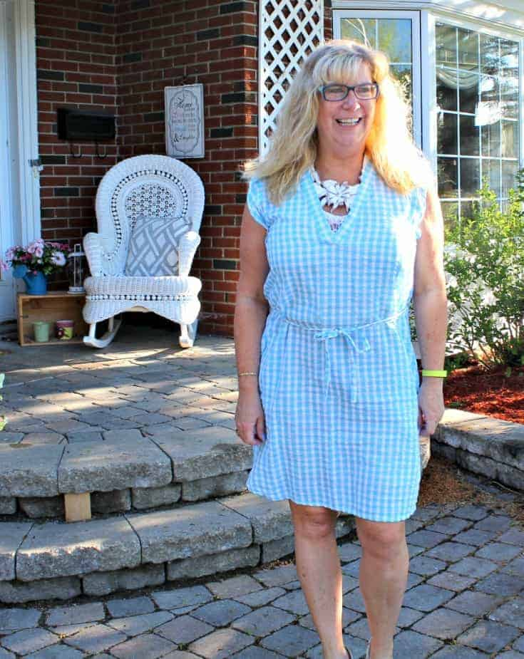 Blue Gingham Dress with a Floral pastel Signature Sole