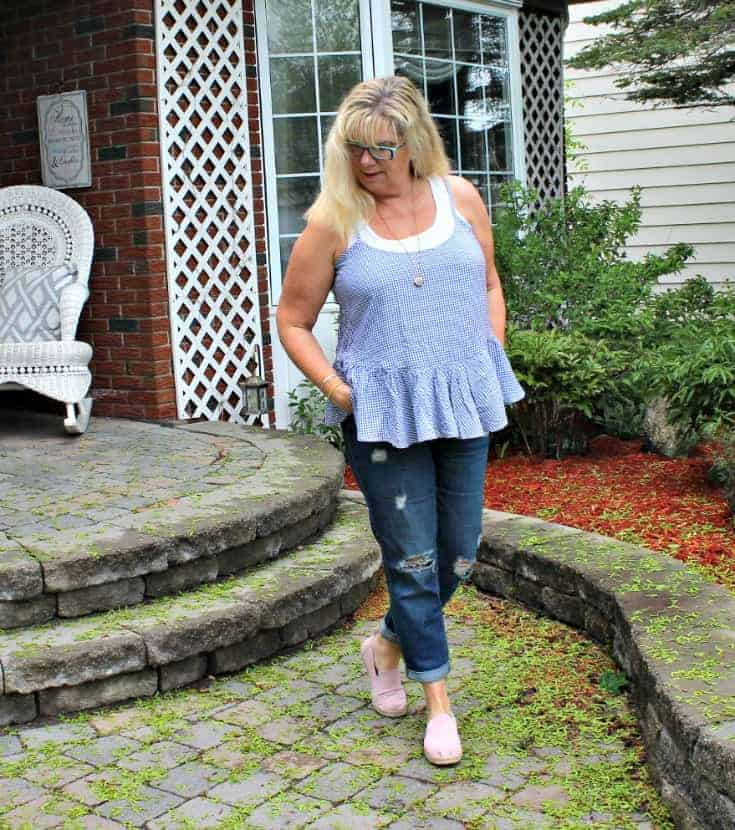 Old Navy Boyfriend Denims with a gingham cami and d7 charming sisters locket