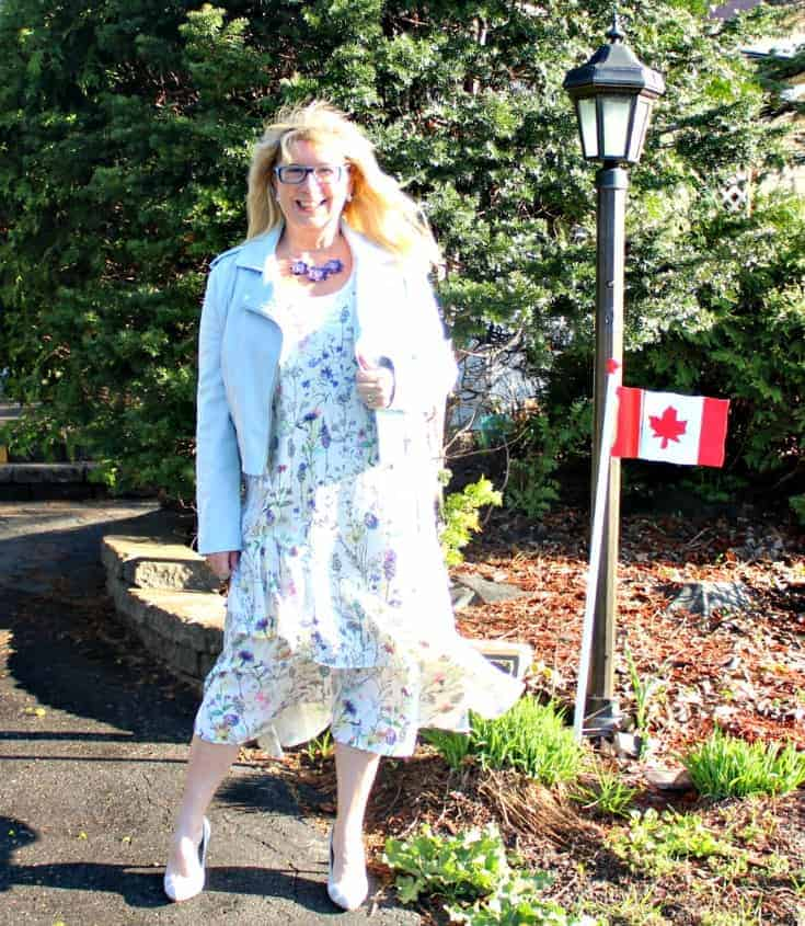 h&M floral dress with striped shoe dazzle pumps and a pale blue moto jacket