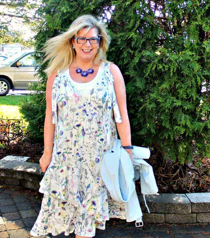 h&M floral dress with striped shoe dazzle pumps
