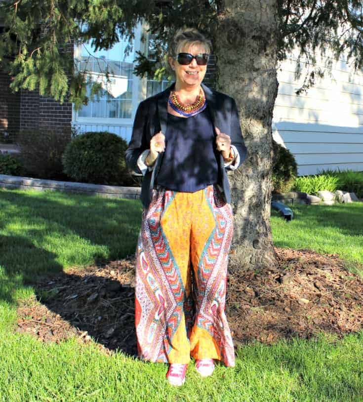 flowy pants from Forever 21 with a demure blazer  and red converse