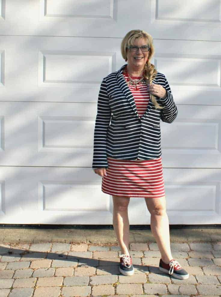 Old Navy Stripe dress with a contrasting blazer and two tone vans