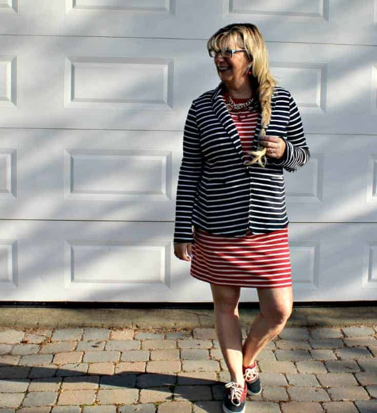 Old Navy red Stripe dress with a contrasting blazer and two tone vans