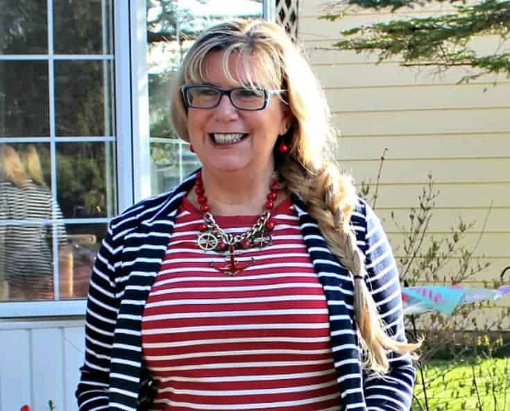 Old Navy Stripe dress with an anchor necklace