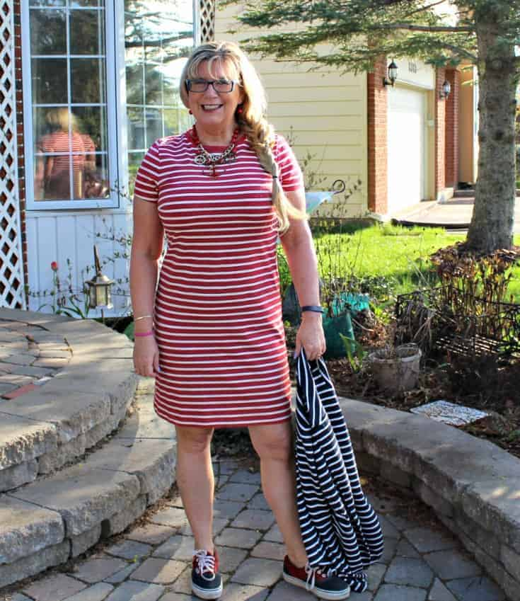 Old Navy Stripe dress with a contrasting blazer and an anchor necklace