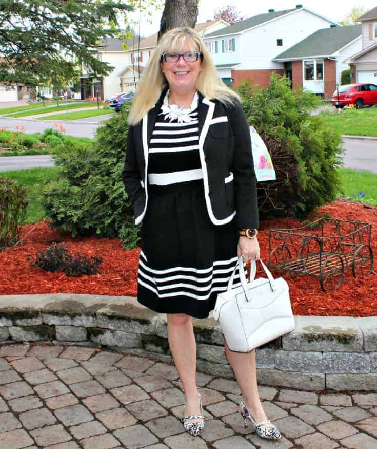 I am Fierce in a J Crew dress ,7 Charming Sisters necklace and Shoe Dazzle B&W floral slingbacks