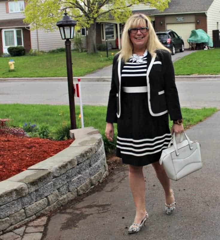 I am Fierce in a B&W J Crew dress ,7 Charming Sisters necklace and Shoe Dazzle slingbacks with a Kate Spade Beau bag