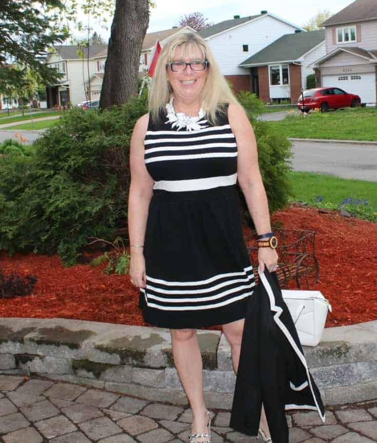 I am Fierce in a J Crew dress ,7 Charming Sisters floral necklace and Shoe Dazzle slingbacks with a Kate Spade Beau bag
