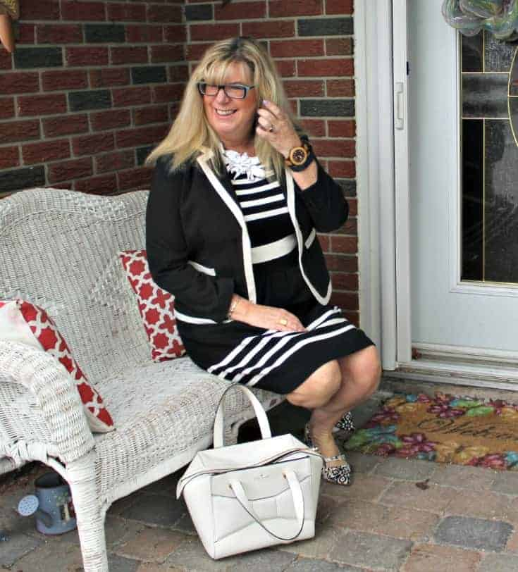 I am Fierce in a J Crew dress ,7 Charming Sisters necklace and Shoe Dazzle slingbacks with a Kate Spade Beau bag