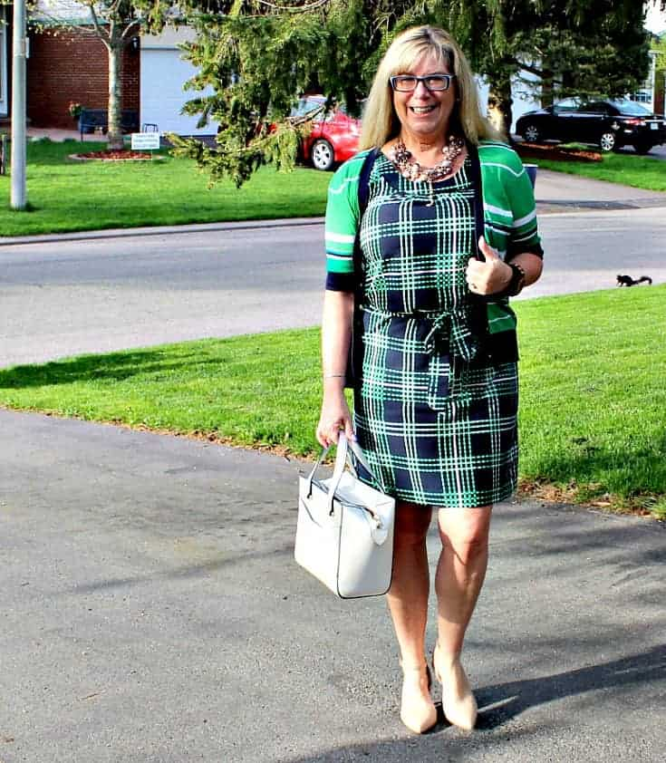 Banana republic stripes and plaids with pearls, nude heels and a white kate spade