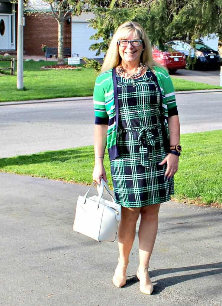 Banana republic stripes and plaids with pearls, nude heels and a kate spade and a jord watch