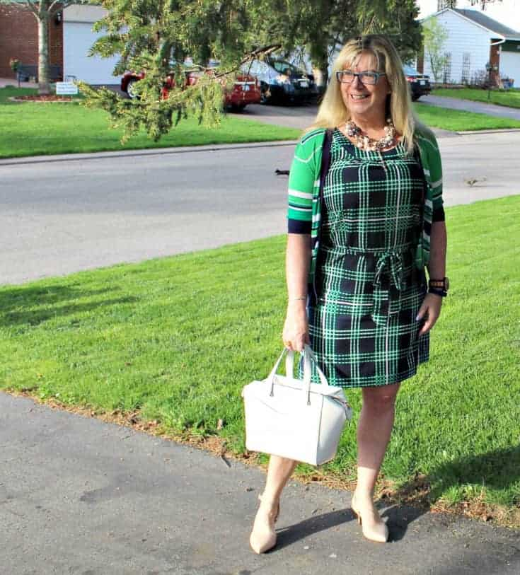 Banana republic stripe cardigan and plaid dress with pearls, nude heels and a kate spade